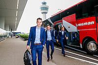 BOEKAREST - 19-08-15, Europa League, Astra GiurGiu - AZ, AZ speler Thom Haye (l), AZ speler Vincent Janssen (m), AZ speler Joris van Overeem (r)