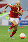 Nottingham Forest defender Kelvin Wilson runs for the ball during The FA Cup third round match between Nottingham Forest and Queens Park Rangers at the City Ground, Nottingham, England on 9 January 2016. Photo by Aaron Lupton.