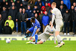 Victor Adeboyejo of Bristol Rovers is challenged by Christian Burgess of Portsmouth - Mandatory by-line: Dougie Allward/JMP - 26/10/2019 - FOOTBALL - Memorial Stadium - Bristol, England - Bristol Rovers v Portsmouth - Sky Bet League One