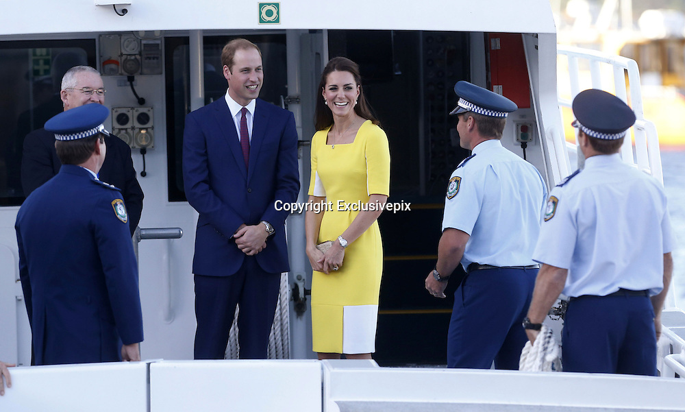 April 16, 2014 - Sydney, AUSTRALIA - <br /> <br /> Prince William and Kate, Duchess of Cambridge<br /> <br /> Britain's Prince William, center left, and his wife Kate, the  Duchess of Cambridge, speak to policemen on a boat at the  Man O' War steps at the Sydney Opera House before  traveling to Admiralty House in Sydney Wednesday, April  16, 2014. The royal couple are on an official visit to New  Zealand and Australia with their son Prince George.<br /> &copy;Exclusivepix