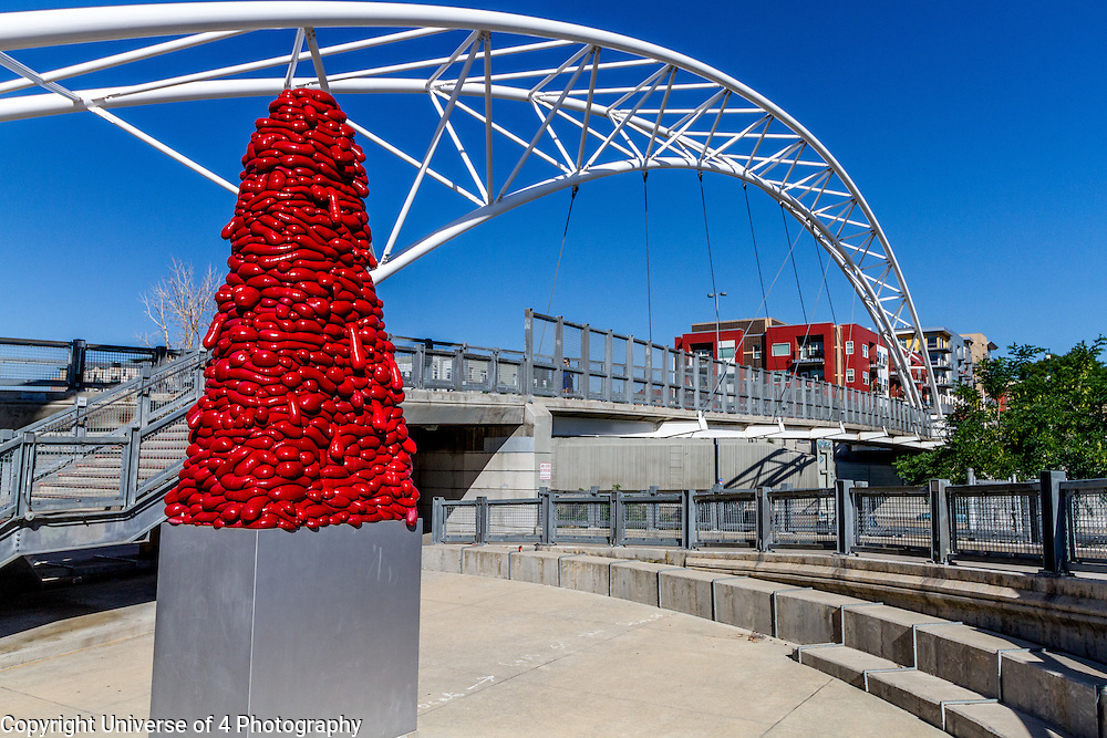 A walking bridge at confluence park next to Union Station in downtown Denver.