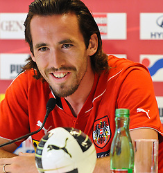 01.06.2011, Ernst Happel Stadion, Wien, AUT, EURO 2012 Qualifikation, Pressekonferenz Oesterreich,im Bild Christian Fuchs (AUT, #5) // during the Press Conference, Ernst Happel Stadion, Vienna, 2011-06-01, EXPA Pictures © 2011, PhotoCredit: EXPA/ M. Gruber