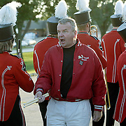 "MOC-Floyd Valley band director Steve Connell tries to get his band in formation as they prepare to march from the school to the football field on homecoming evening.  ""If they take 45 minutes to line up, Homecoming is going to be over,"" said Connell.  ""I think he was going to be either a football coach or a band director,"" said senior Abby Heidesch, about the sometimes strict Connell."