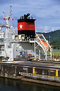 Cargo ship crossing the Gatun Locks at Panamá Canal, Rep.of Panamá, Central America