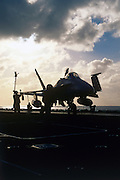 F/A-18 Hornet on carrier catapult