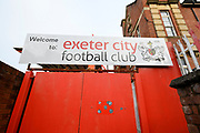 Welcome to Exeter City Football Club sign before the EFL Sky Bet League 2 match between Exeter City and Grimsby Town FC at St James' Park, Exeter, England on 29 December 2018.
