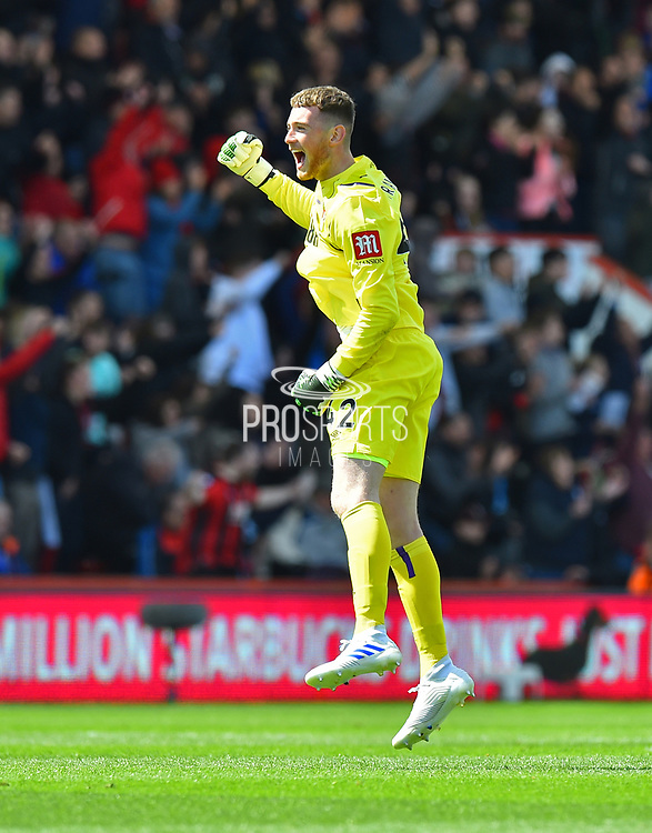 Goal - Mark Travers (42) of AFC Bournemouth celebrates after Nathan Ake (5) of AFC Bournemouth scores a goal to give a 1-0 lead to the home team during the Premier League match between Bournemouth and Tottenham Hotspur at the Vitality Stadium, Bournemouth, England on 4 May 2019.
