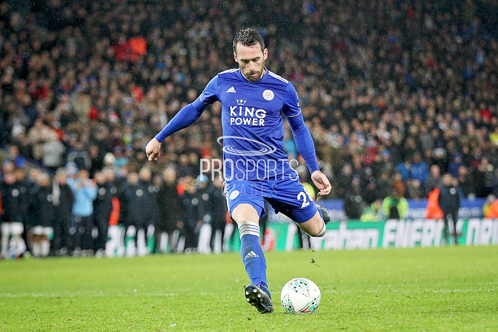 Leicester City defender Christian Fuchs (28) blasts his penalty over the bar in the shoot out during the quarter final of the EFL Cup match between Leicester City and Manchester City at the King Power Stadium, Leicester, England on 18 December 2018.
