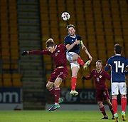 10th November 2017, McDiarmid Park, Perth, Scotland, UEFA Under-21 European Championships Qualifier, Scotland versus Latvia; Scotland's John Souttar out jumps Latvia's Roberts Uldrikis