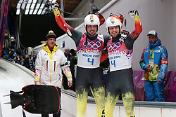 The XXII Winter Olympic Games 2014 in Sotchi, Olympics, Olympische Winterspiele Sotschi 2014<br /> Tobias Wendl and Tobias Arlt (Germany) with Trainer Norber Loch at the finish of the final run in the mens doubles luge competition at the XXII Olympic Winter Games in Sochi
