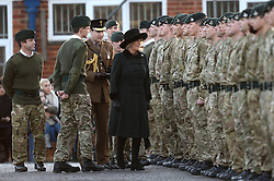 Camilla, The Duchess of Cornwall, presents Operational Service Medals to soldiers of 4th Battalion, The Rifles who have recently returned from Afghanistan at Bulford Barracks, Wiltshire, United Kingdom. Monday, 9th December 2013. Picture by Ben Stevens / i-Images
