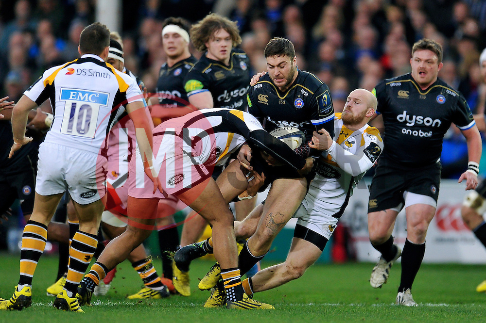 Matt Banahan of Bath Rugby takes on the Wasps defence - Mandatory byline: Patrick Khachfe/JMP - 07966 386802 - 19/12/2015 - RUGBY UNION - The Recreation Ground - Bath, England - Bath Rugby v Wasps - European Rugby Champions Cup.