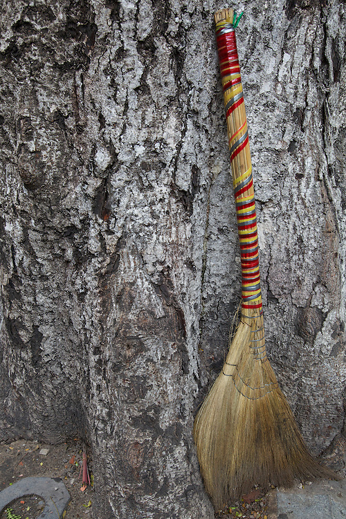 A broom rests by a tree on the side of a street in downtown Ho Chi Minh CIty.