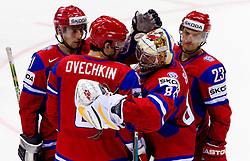Konstantin Gorovikov of Russia, Alexander Ovechkin of Russia, Konstantin Barulin of Russia and Alexei Tereshenko of Russia after ice-hockey match between Russia and Finland of Group E in Qualifying Round of IIHF 2011 World Championship Slovakia, on May 9, 2011 in Orange Arena, Bratislava, Slovakia. Finland defeated Russia after overtime and shootout 3-2. (Photo By Vid Ponikvar / Sportida.com)