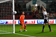 Mark Howard (33) of Bolton Wanderers watches as the ball grazes the outside of the post from a shot by Bailey Wright (5) of Bristol City during the EFL Sky Bet Championship match between Bristol City and Bolton Wanderers at Ashton Gate, Bristol, England on 26 September 2017. Photo by Graham Hunt.