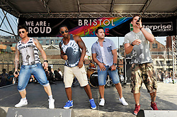 © Licensed to London News Pictures. 13/07/2013. Bristol, UK.  Blue play at the Bristol Pride Festival.  13 July 2013.<br /> Photo credit : Simon Chapman/LNP