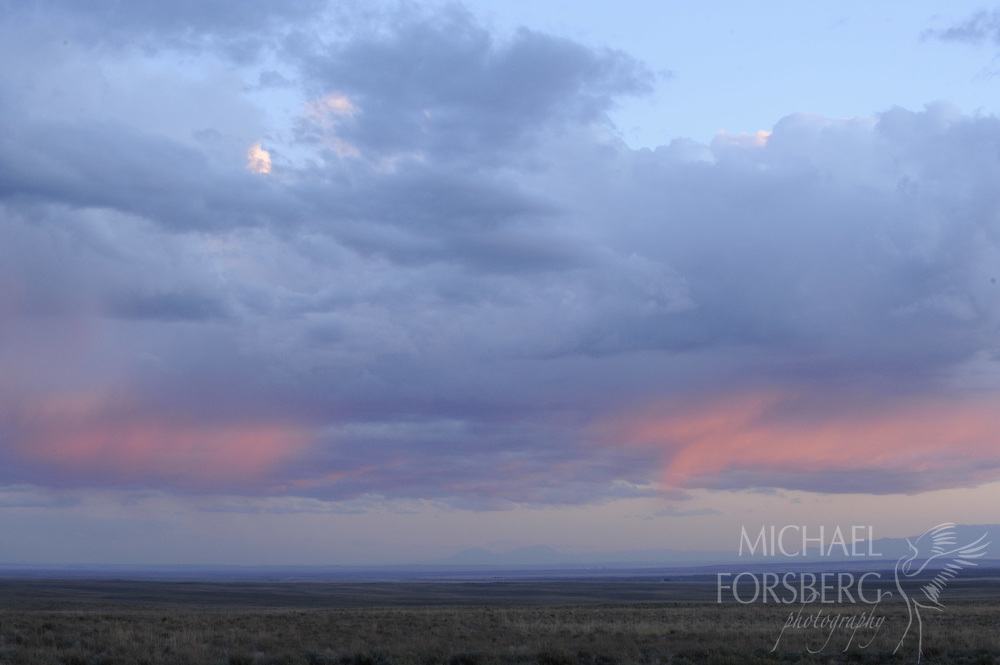 Shortgrass prairie region - Front Range, CO..Bohart Ranch. pink sunset..Assorted landscapes with Front Range, sandsage prairie and thunderheads..