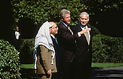 US President Bill Clinton stands with mid-east leaders on the South Lawn of the White House October 1, 1996 during the Middle East Peace Summit in Washington, DC.  The group is (L-R) Palestinian Leader Yasser Arafat, King Hussein of Jordan, President Bill Clinton and Israel Prime Minister Benjamin Netanyahu.