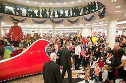 Meadowhall Santa makes an early stop to get the festive  celebrations underway.10 November 2011. Image © Paul David Drabble