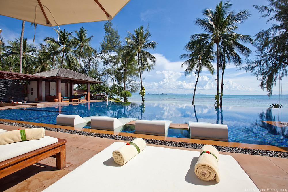 Swimming pool at Baan Kilee, luxury, private villa located on Lipa Noi Beach, Koh Samui, Thailand