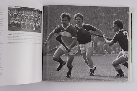 left: Offaly-All-Ireland Hurling Championship 1981. Back Row: Pat Kirwan, Pat Fleury, Joachim Kelly, Liam Currams, Pat Delaney, Eugene Coughlan, Aidan Fogarty. Front Row: Tom Donoghue, Johnny Flaherty, Damien Martin, Padraig Horan (capt), Ger Coughlan, Pat Carroll, Mark Corrigan, Brendan Bermingham. .right: Offaly's Johnny Flaherty and Galway's Silvie Linnane and Seamus Coen in action in the 1981 All-Ireland Final.
