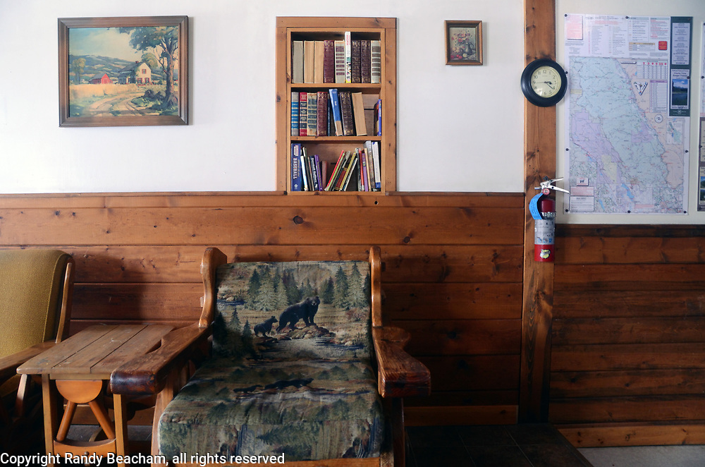 Interior of Ben Rover Cabin, a Forest Service rental cabin located at Polebridge, northwest Montana.