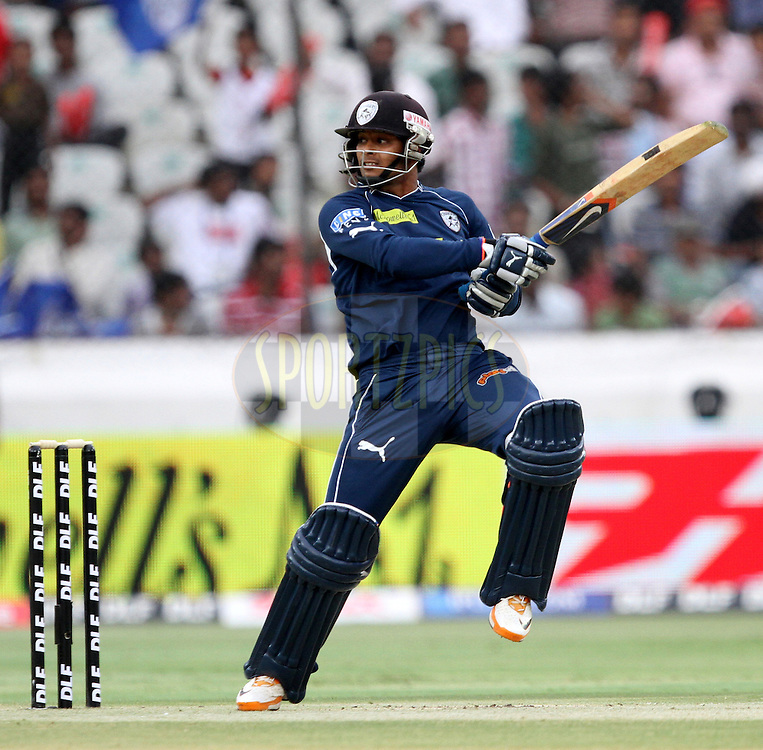 Ravi Teja of DC in action during match 53 of the Indian Premier League ( IPL ) between the Deccan Chargers and the Pune Warriors India held at the Rajiv Gandhi International Cricket Stadium in Hyderabad on the 10th May 2011..Photo by Prashant Bhoot/BCCI/SPORTZPICS