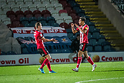 Tyler Walker of Lincoln City celebrating his goal with Harry Toffolo of Lincoln City during the EFL Sky Bet League 1 match between Rochdale and Lincoln City at the Crown Oil Arena, Rochdale, England on 17 September 2019.
