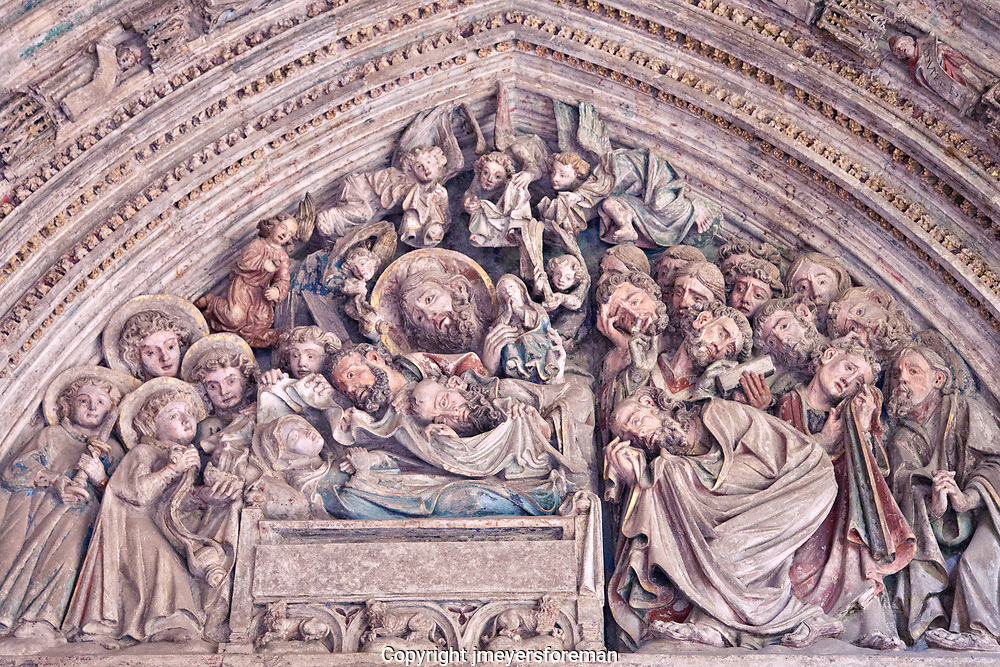 Tympanum of the Virgin del Amparo St. Mary's Cathedral Pampolna Spain