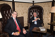 SIR BILL CASH; LORD MAGAN, BARON MAGAN OF CASTLETOWN, Launch hosted by Quartet books  of Madam, Where Are Your Mangoes? by Sir Desmond de Silva at The Carlton Club. London. 27 September 2017.