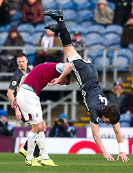 Caglar Soyuncu of Leicester City beats Chris Wood of Burnley to a header but falls over his opponent - Mandatory by-line: Robbie Stephenson/JMP - 19/01/2020 - FOOTBALL - Turf Moor - Burnley, England - Burnley v Leicester City - Premier League