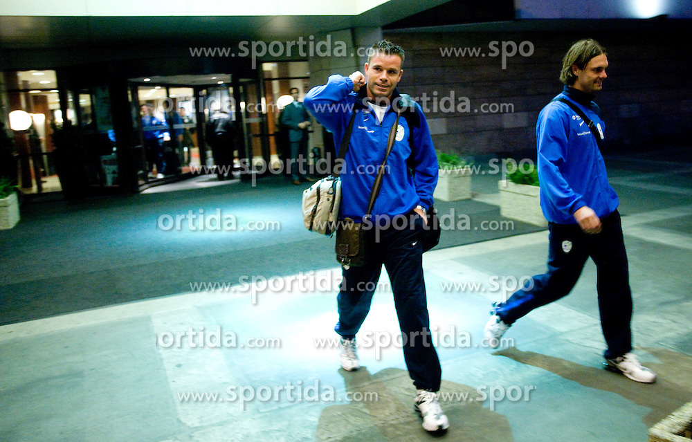 Anton Zlogar and Marko Suler of Slovenian National team at departure to the FIFA World Cup Qualifications match between Slovakia and Slovenia, on October 10, 2009, Crown Plaza Hotel, near Tehelne Pole Stadium, Bratislava, Slovakia.  (Photo by Vid Ponikvar / Sportida)