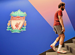 MADRID, SPAIN - Friday, May 31, 2019: Liverpool's Mohamed Salah after a training session ahead of the UEFA Champions League Final match between Tottenham Hotspur FC and Liverpool FC at the Estadio Metropolitano. (Pic by Handout/UEFA)