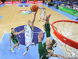 Jaka Lakovic of Slovenia vs Robertas Javtokas of Lithuania during basketball game between National basketball teams of Slovenia and Lithuania at of FIBA Europe Eurobasket Lithuania 2011, on September 15, 2011, in Arena Zalgirio, Kaunas, Lithuania. Lithuania defeated Slovenia 80-77.  (Photo by Vid Ponikvar / Sportida)