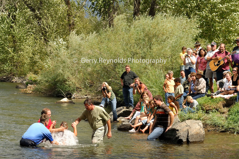 Baptize, Baptized, Water, Religion, Religious, Christian, Ceremony, Celebration, Father and Sons, Father and Son, Father, Son, Boy, Child, Children, Baptism, Salmon River, Idaho