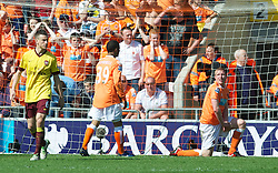 BLACKPOOL, ENGLAND - Sunday, April 10, 2011: Blackpool's Keith Southern looks dejected after missing a chance to score against Arsenal during the Premiership match at Bloomfield Road. (Photo by David Rawcliffe/Propaganda)