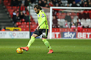 Brighton defender, full back, Inigo Calderon (14) on the ball during the Sky Bet Championship match between Bristol City and Brighton and Hove Albion at Ashton Gate, Bristol, England on 23 February 2016. Photo by Shane Healey.