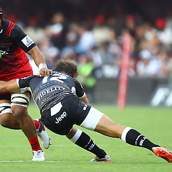 DURBAN, SOUTH AFRICA - MARCH 26:  Andre Esterhuizen of the Cell C Sharks tackling Jordan Taufua of the BNZ Crusaders during the Super Rugby match between Cell C Sharks and BNZ Crusaders at Growthpoint Kings Park on March 26, 2016 in Durban, South Africa. (Photo by Steve Haag)<br /> <br /> images for social media must have consent from Steve Haag