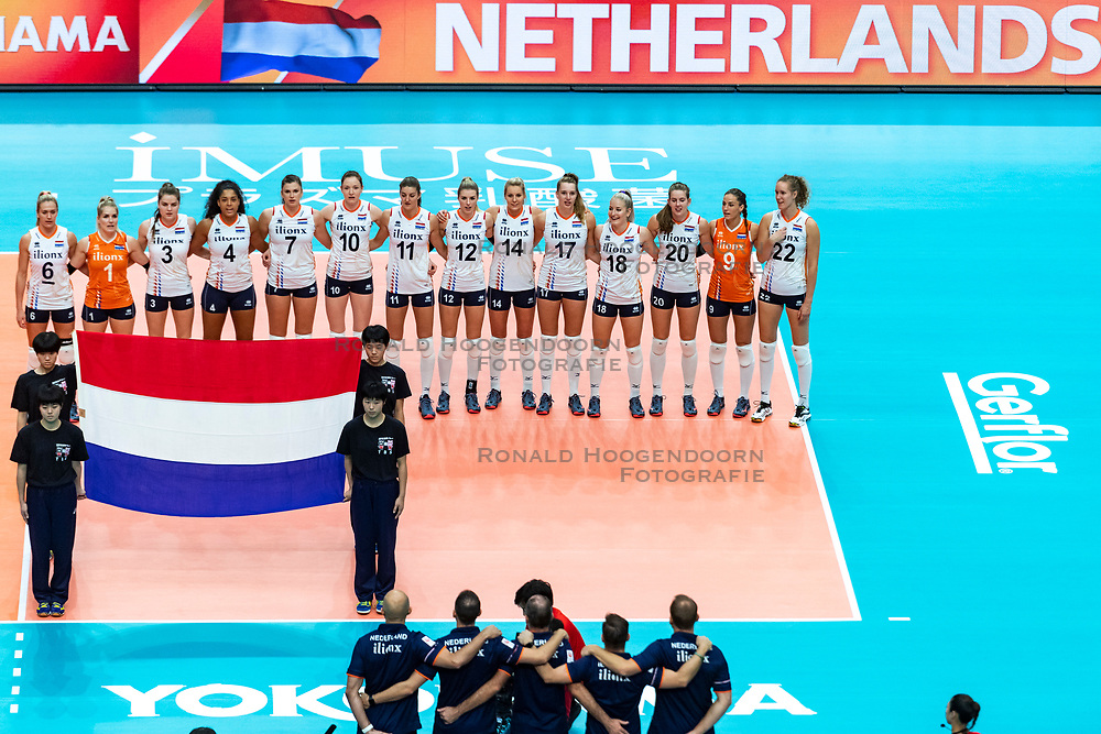 03-10-2018 JPN: World Championship Volleyball Women day 6, Yokohama<br /> Netherlands - Mexico 3-0 / Team NL line up