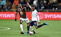 Fotball , 4. oktober 2019 , Eliteserien , Mjøndalen - Strømsgodset 1-1<br /> Olivier Occean , MIF<br /> Duplexe Tchamba Bangou , SIF