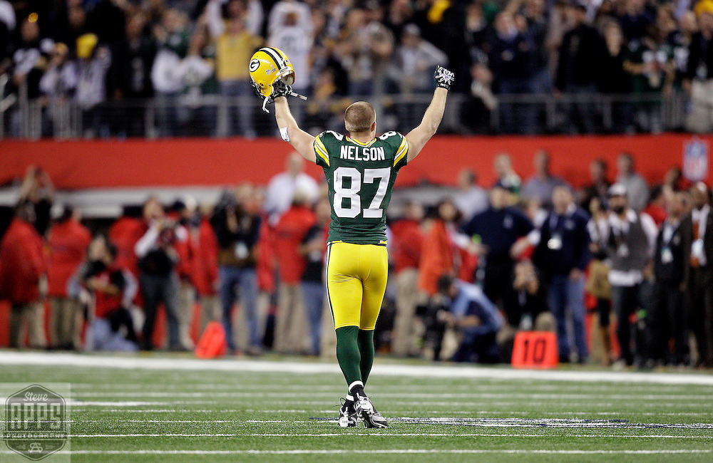 Green Bay Packers' Jordy Nelson after the Packers held the Steeler on 4th down and 5-yards late in the 4th quarter. .The Green Bay Packers played the Pittsburgh Steelers in Super Bowl XLV,  Sunday February 6, 2011 in Cowboys Stadium. Steve Apps-State Journal.