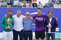 LIVERPOOL, ENGLAND - Sunday, June 23, 2019: L-R Paulo Lorenzi (ITA), xxxx, xxxx, Robert Kendrick (USA), Tournament Director Anders Borg during the Men's Final on Day Four of the Liverpool International Tennis Tournament 2019 at the Liverpool Cricket Club. (Pic by David Rawcliffe/Propaganda)