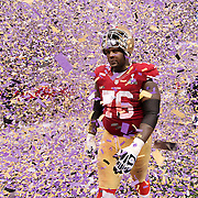 A dejected San Francisco 49ers tackle Anthony Davis walks off the field after the Baltimore Ravens won Super Bowl XLVII at the Superdome in New Orleans, Louisiana.
