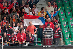 Fans during ice-hockey match between HDD Tilia Olimpija and HK Acroni Jesenice in second game of Final at Slovenian National League, on April 3, 2011 at Hala Tivoli, Ljubljana, Slovenia. (Photo By Matic Klansek Velej / Sportida.com)