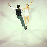 Madeline Aaron and Max Settlage are seen during the Smucker's Skating Spectacular at the TD Garden on January 12, 2014 in Boston, Massachusetts.
