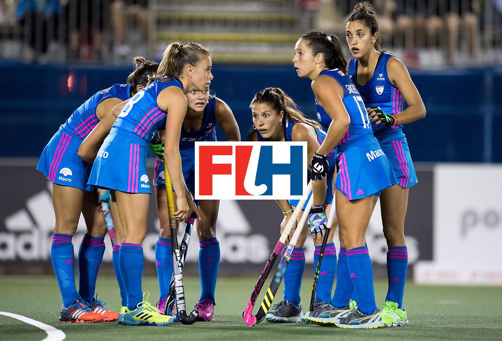 AUCKLAND - Sentinel Hockey World League final women<br /> Match id: 10304<br /> 14 ARG v NZL 1-2<br /> Foto: penalty corner huddle.<br /> WORLDSPORTPICS COPYRIGHT FRANK UIJLENBROEK