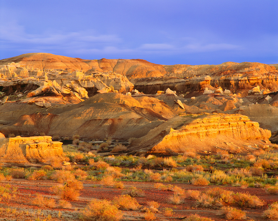 0251-1000B ~ Copyright:  George H. H. Huey ~ Sunset on white caprock and natural coal seams.  Bisti Badlands.  BLM Wilderness Area.  New Mexico.