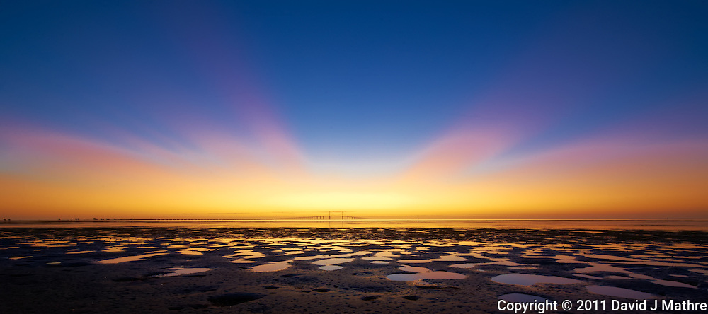 Low Tide Panorama of the Sunshine Skyway Bridge at Dawn. Taken from Fort Desoto County Park in St. Petersburg, Florida. Image taken with a Nikon D3s and 14-24 mm f/2.8 lens (ISO 200, 14 mm, f/16, 1 sec).