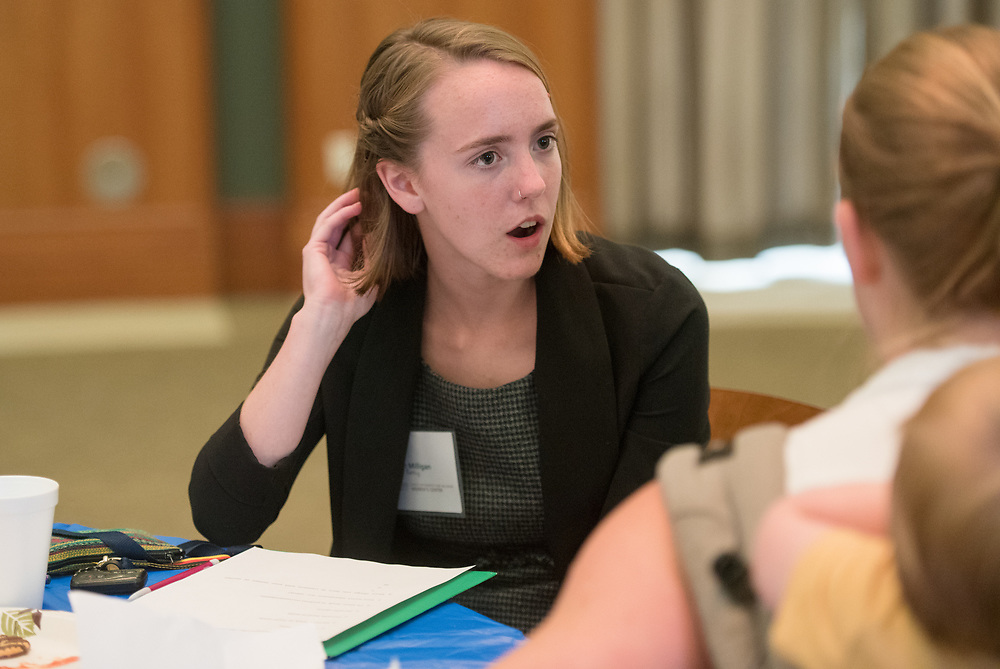 A student talks with her mentor during the Women's Mentoring Meet and Greet event on Sept. 4, 2018 in Walter Rotunda. Photo by Hannah Ruhoff