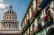 Capitolio Cuban Flag on 50th anniversary of Cuban revolution, Havana Cuba